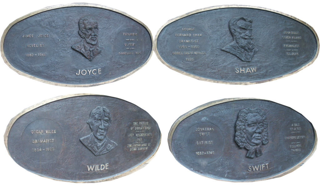 Gedenktafeln Joyce, Shaw, Wilde, Swift